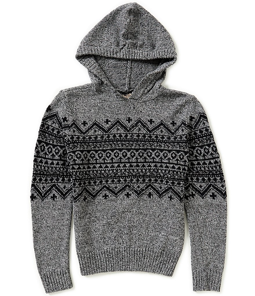 First Wave Big Boys 8-20 Fair Isle Hooded Pullover Sweater