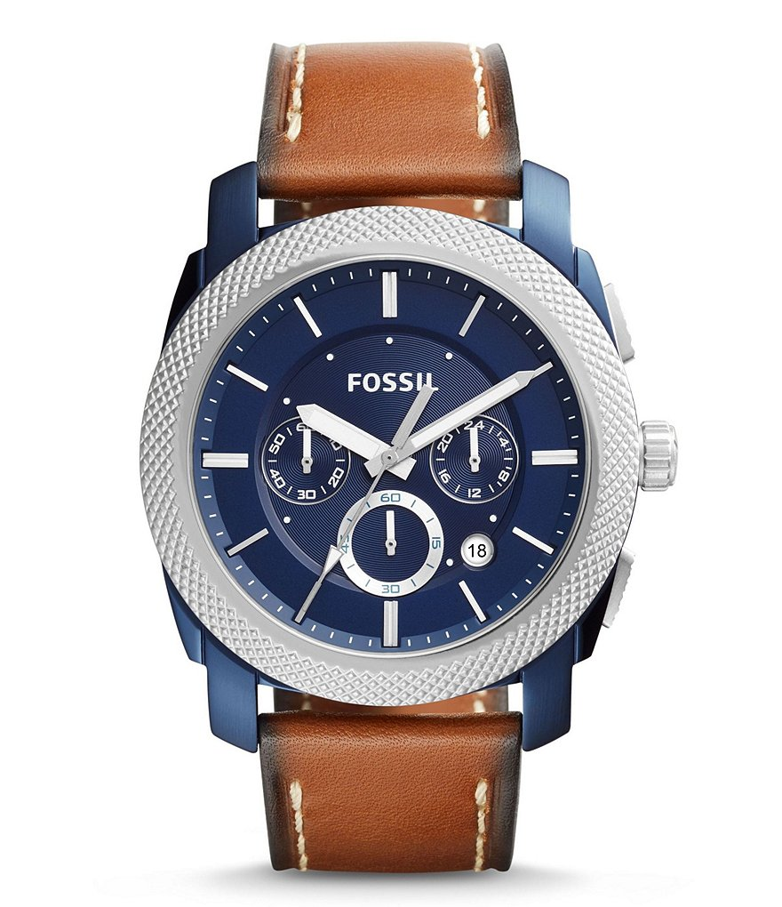 Fossil Machine Chronograph Leather-Strap Watch