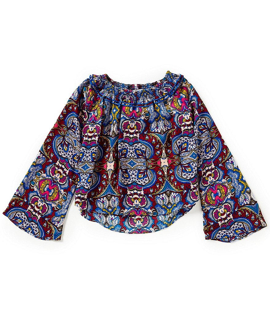 GB Girls Little Girls 4-6X Printed Smock Peasant High-Low Hem Woven Top