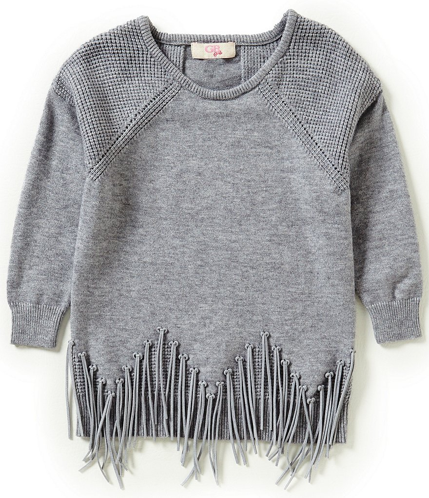 GB Girls Little Girls 4-6X Fringe Hem Sweater