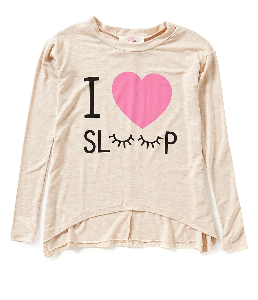 GB Girls Little Girls 4-6X I Love Sleep Knit Tee