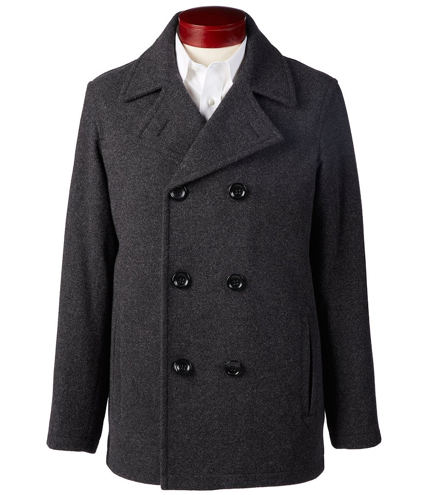 Roundtree & Yorke Big & Tall Wool Blend Double-Breasted Peacoat