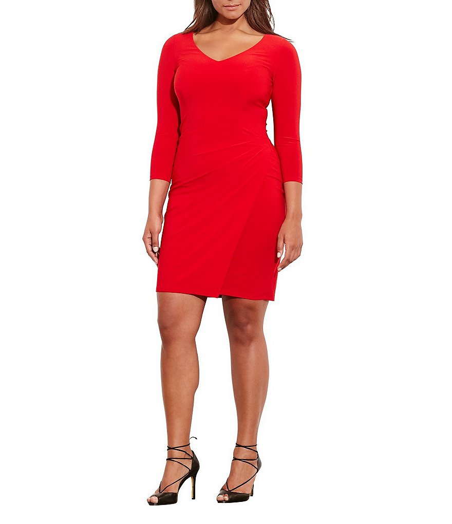 Lauren Ralph Lauren Plus V-Neck 3/4 Sleeve Pleated Jersey Dress