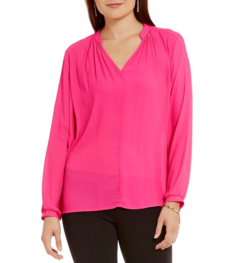 Gibson & Latimer Solid Long Sleeve V-Neck Blouse