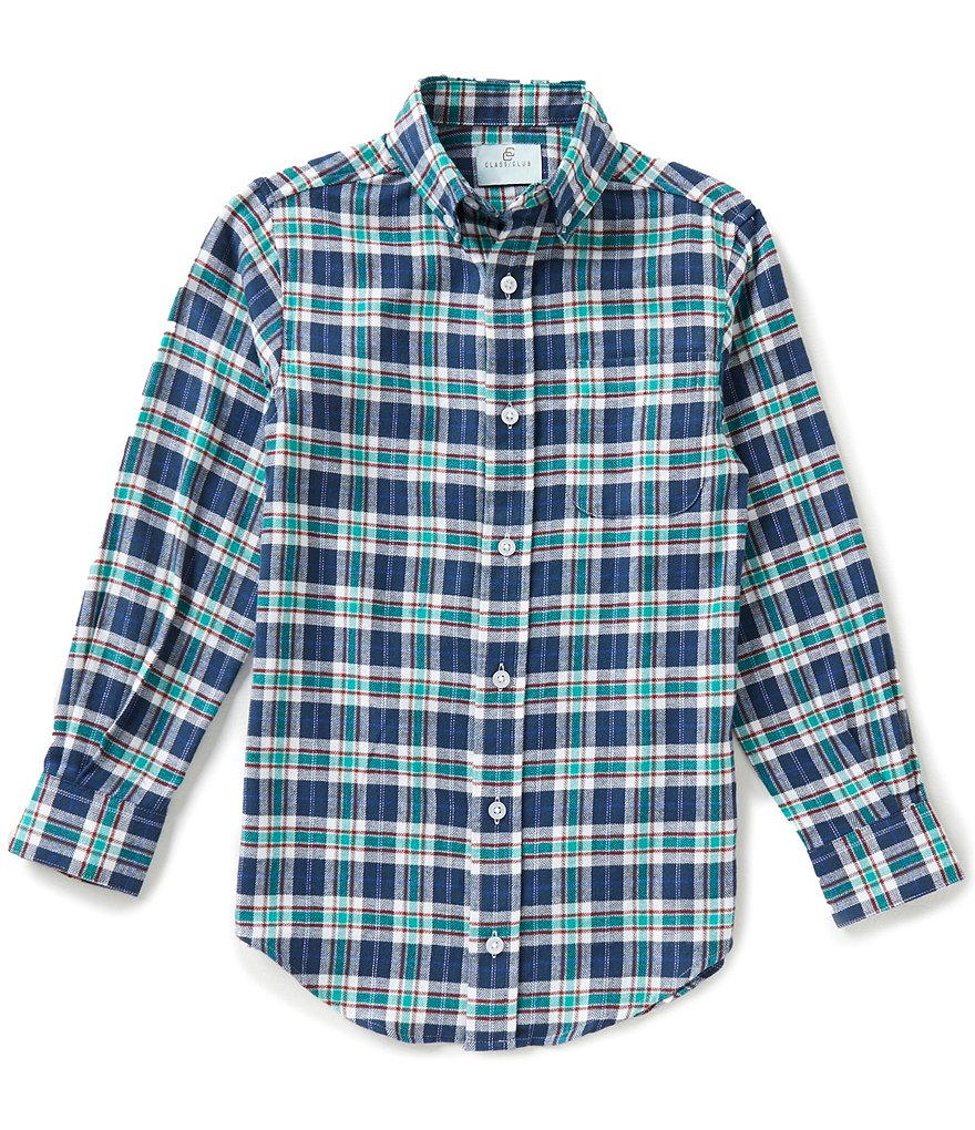 Class Club Big Boys 8-20 Twill Plaid Shirt