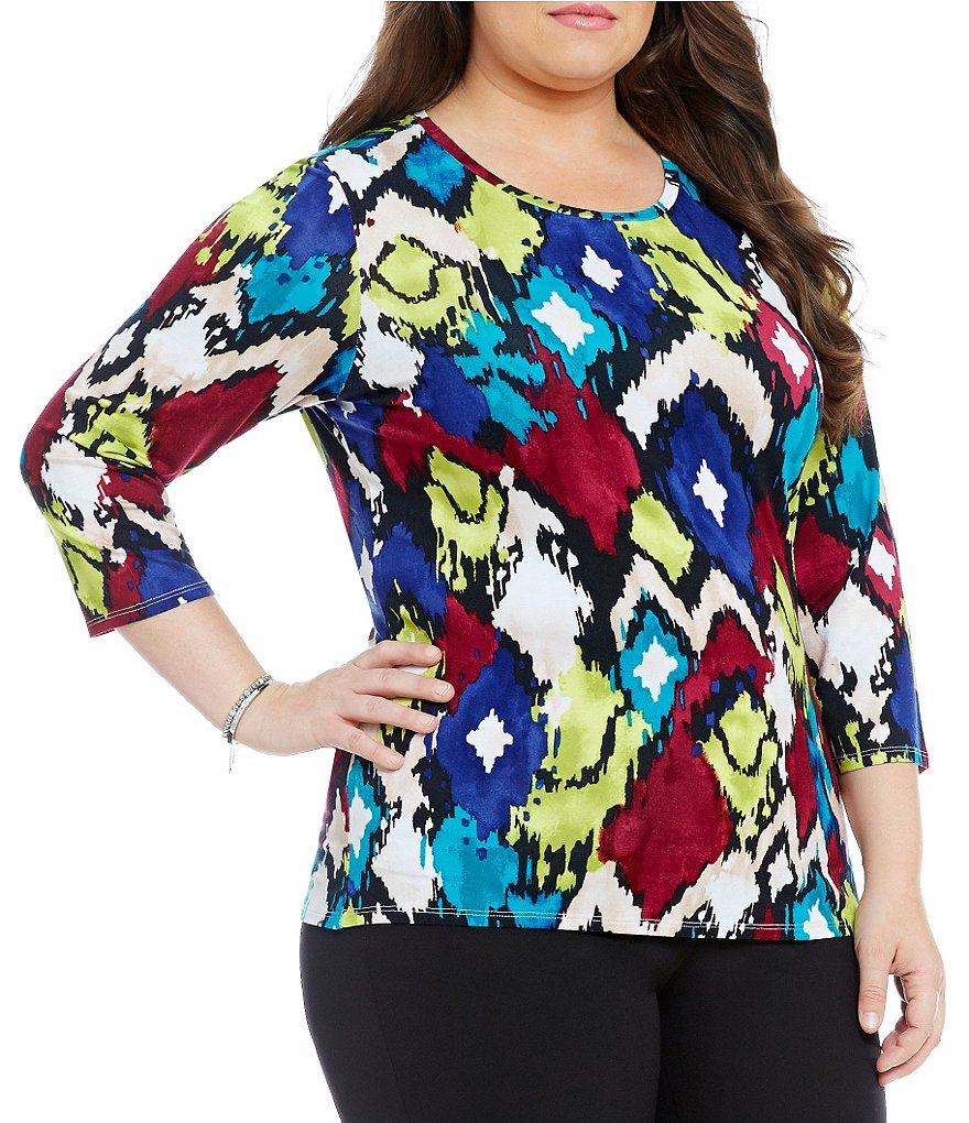 Investments Plus Essentials Printed Knit Top