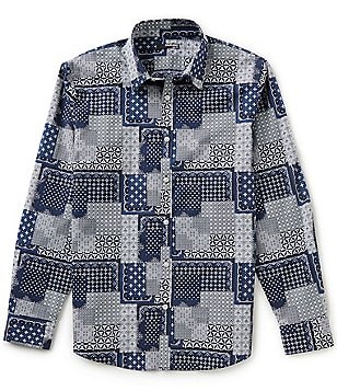 Murano Barcelona Collection Long-Sleeve Slim-Fit Spread-Collar Patchwork Sportshirt