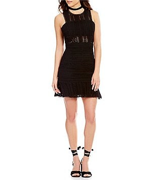 J.O.A. Crew Neck Sleeveless Flute Hem Lace Dress