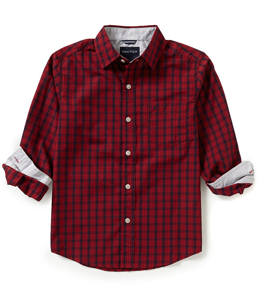 Nautica Big Boys 8-20 Checked Woven Long-Sleeve Shirt