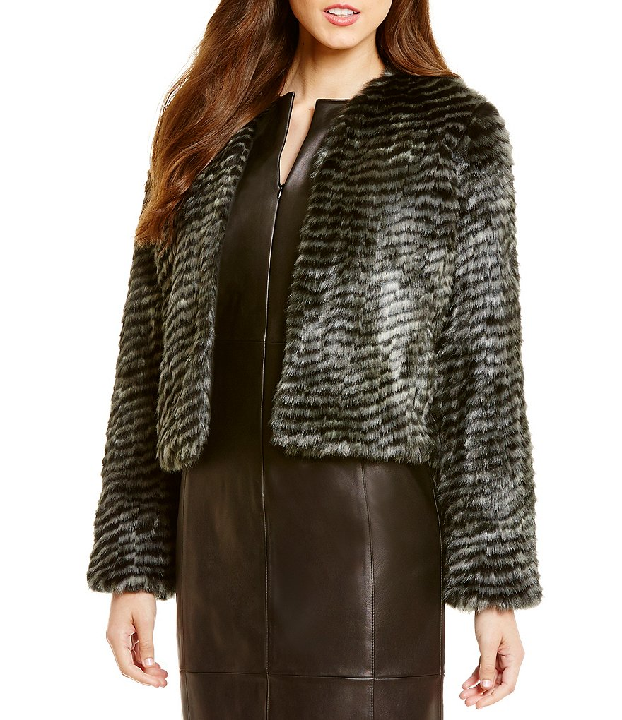 Antonio Melani Astoria Faux-Fur V-Neck Jacket