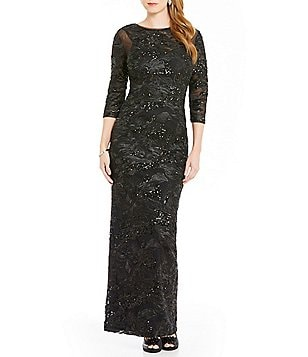 Brianna 3/4 Sleeve Illusion Bodice Embroidered Sequined Gown