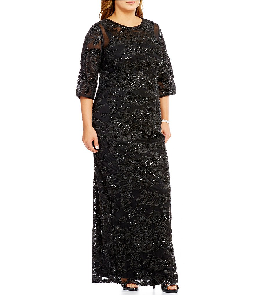 Brianna Plus 3/4 Sleeve Embroidered Sequined Gown