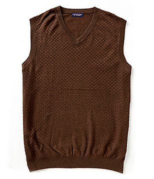 Roundtree & Yorke Big & Tall Basketweave Sweater Vest