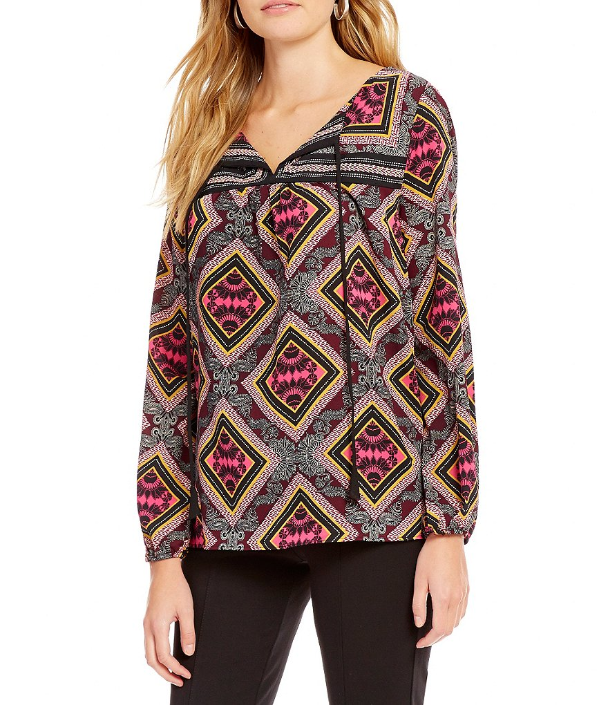 Gibson & Latimer Woven Long Sleeve Tile Print Top