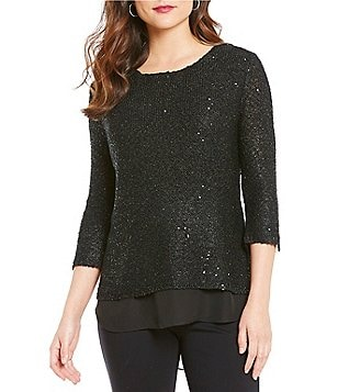 Gibson & Latimer Crew Neck 3/4 Sleeve Hi-Low Hem Sequin Sweater