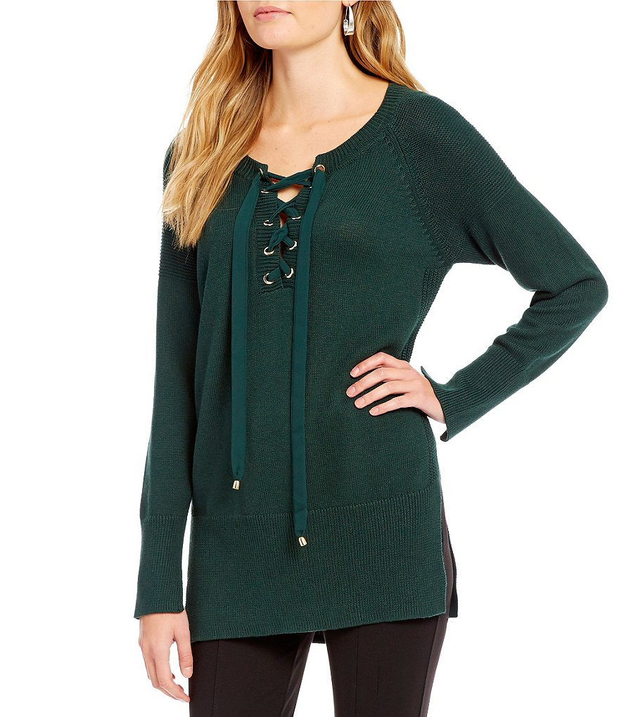 Gibson & Latimer Lace-Up Neck Sweater