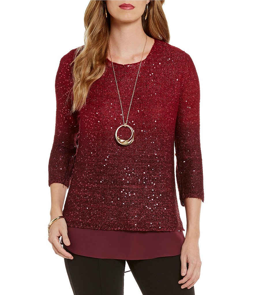 Gibson & Latimer Crew Neck 3/4 Sleeve Sequin Sweater
