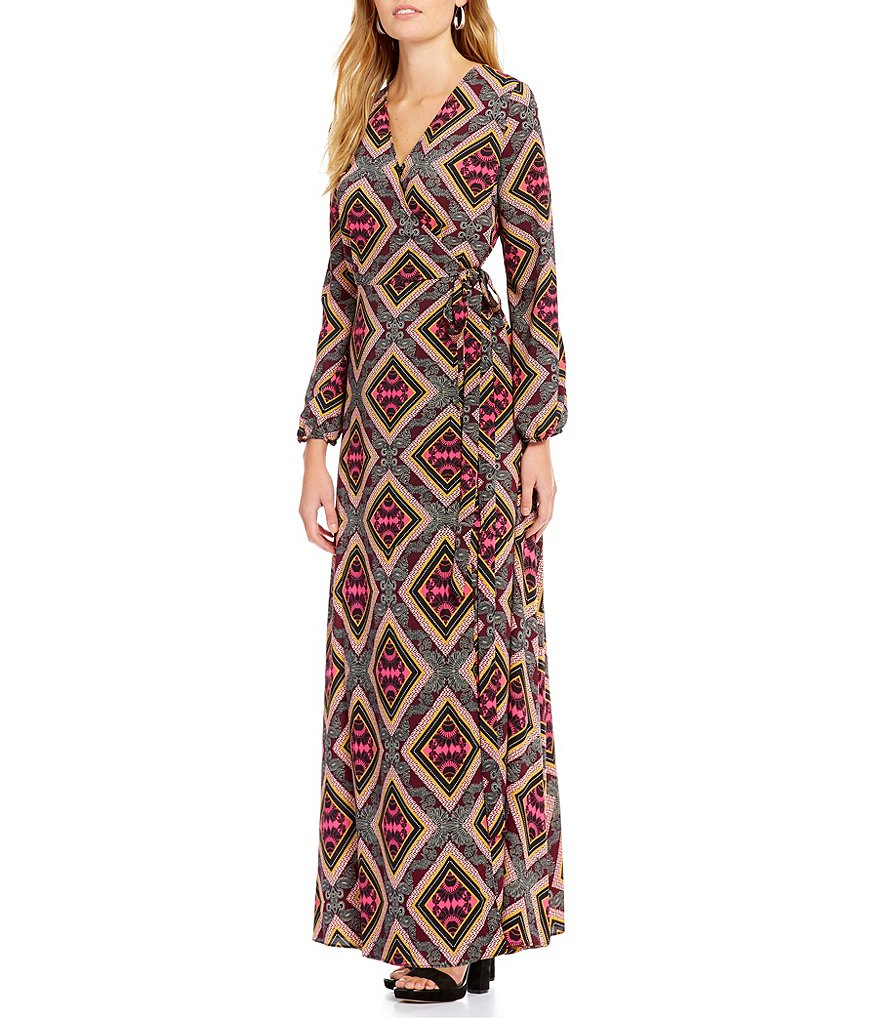 Gibson & Latimer Tile Print Wrap Maxi Dress