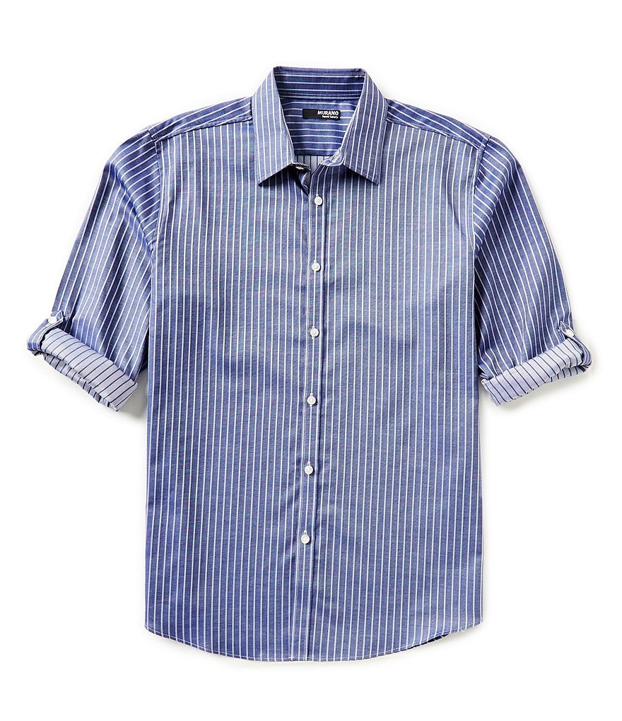 Murano Big & Tall Roll-Sleeve Liquid Luxury Striped Sportshirt