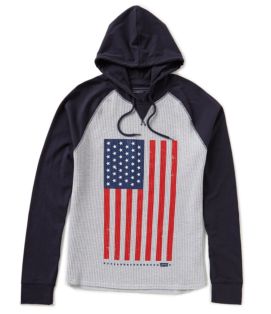 Levi´s Jumbo American Flag Color Block Thermal-Waffle-Knit/Jersey Hoodie