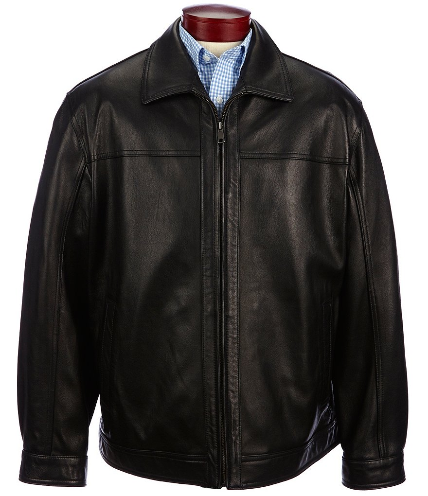 Roundtree & Yorke Big & Tall Lambskin Leather Coat