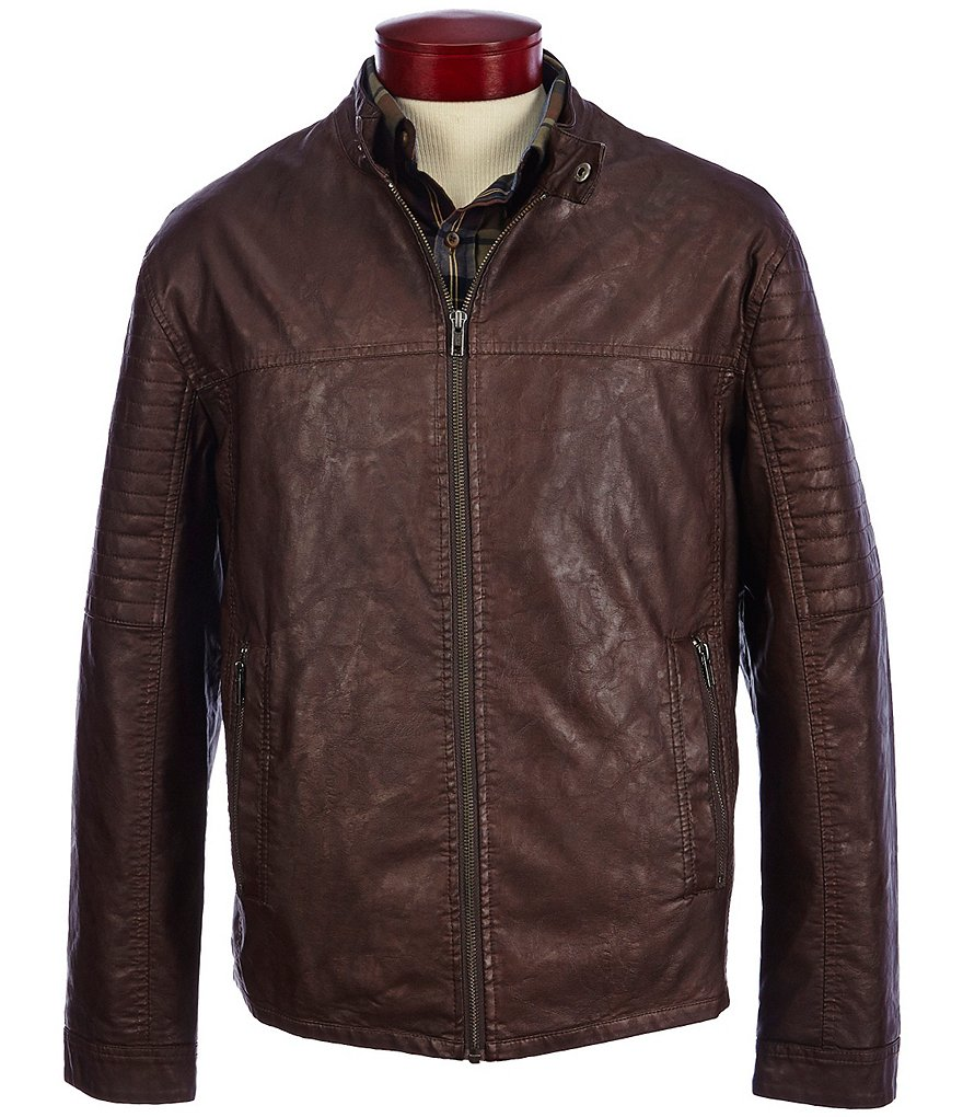 Roundtree & Yorke Big & Tall Distressed Faux-Leather Moto Jacket