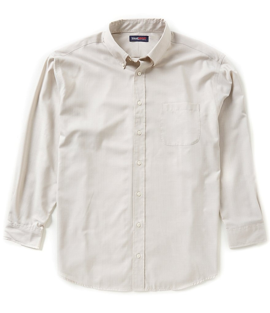 Roundtree & Yorke TravelSmart Big & Tall Solid Heather Herringbone Sportshirt