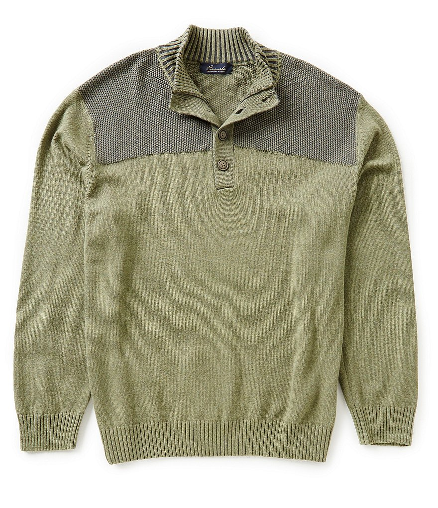 Roundtree & Yorke Casuals Big & Tall Button Mock Plaited Pullover