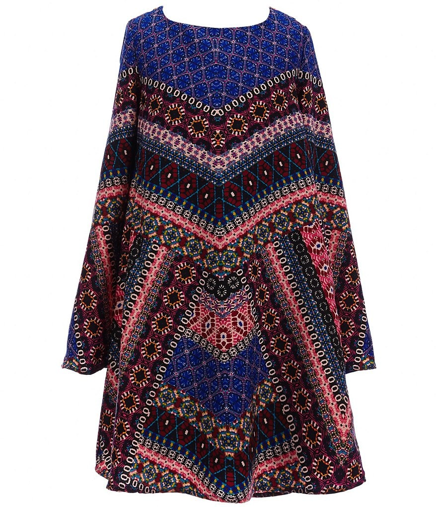 GB Girls Big Girls 7-16 Printed Peasant Shift Dress