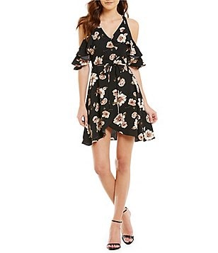 J.O.A. Floral Cold-Shoulder Short Sleeve Wrap Dress