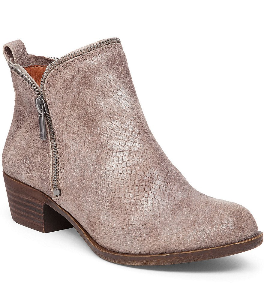 Lucky Brand Bartalino Side Zip Snake Print Booties