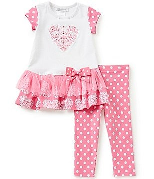 Bonnie Jean Little Girls 2T-6X Valentines Heart Top & Dotted Leggings Set