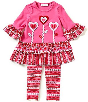 Bonnie Jean Little Girls 2T-6X Valentines Heart Dress & Patterned Leggings Set