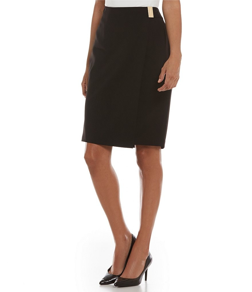 Calvin Klein Metal Bar Trim Solid Lux Stretch Suiting Pencil Skirt