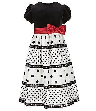 Jayne Copeland Big Girls 7-12 Dotted-Skirt Bow-Waistband A-line Dress