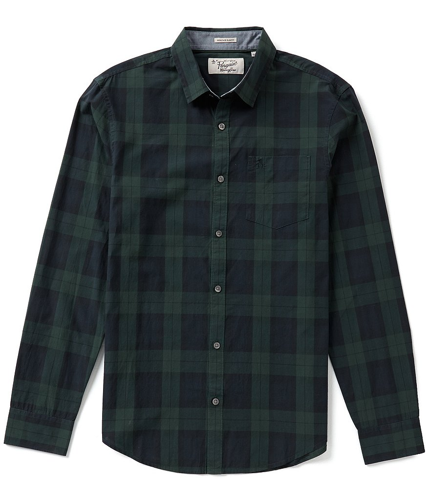 Original Penguin Blackwatch Plaid Long-Sleeve Woven Shirt