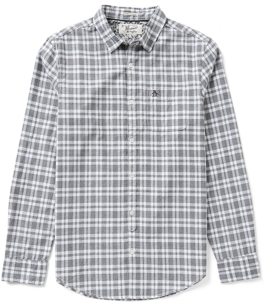 Original Penguin Jasper Plaid Long-Sleeve Oxford Shirt