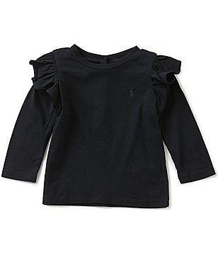 Ralph Lauren Childrenswear Baby Girls 3-24 Months Ruffled-Shoulder Knit Top