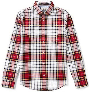 Original Penguin Slub Plaid Long-Sleeve Oxford Woven Shirt