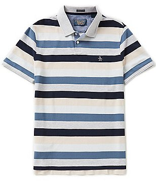 Original Penguin Honeycomb Long-Sleeve Horizontal-Striped Polo Shirt