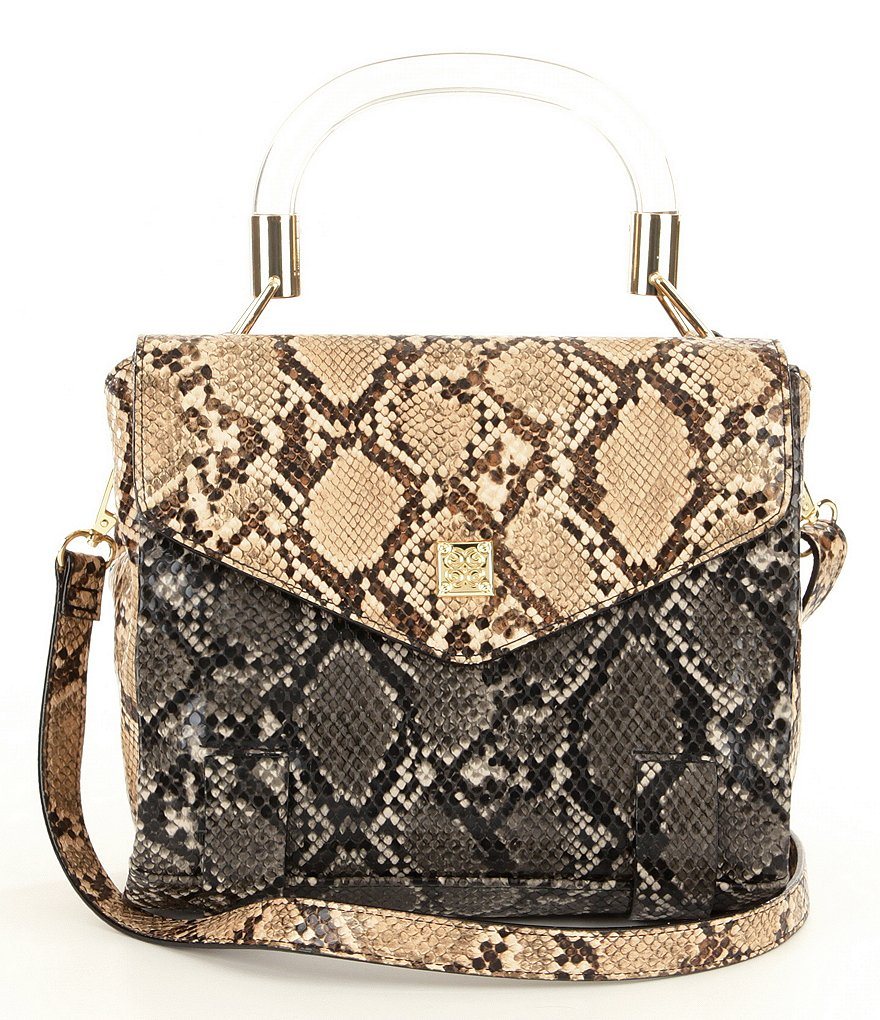 Gianni Bini Snake-Print Satchel with Lucite Top Handle