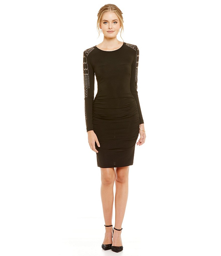 Marina Stud-Sleeve Sheath Dress
