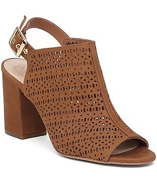 Vince Camuto Brashell Lasercut Leather Slingback Peep-Toe Block Heel Booties