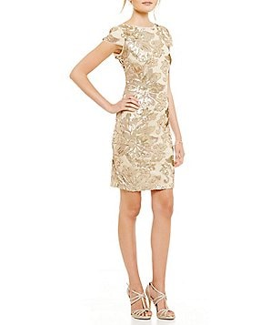 Marina Cap-Sleeve Floral Sequin Sheath Dress