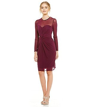 Marina Mesh-Illusion Ruched Sheath Dress