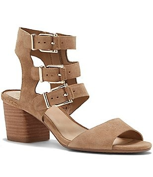Vince Camuto Gerianna Three Strap Buckle Block Heel Dress Sandals