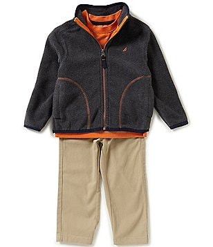 Nautica Little Boys 2T-4T Fleece Zip-Front Sweater, Striped Long-Sleeve Tee, and Solid Pants Set