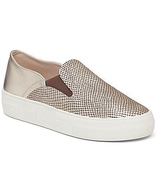 Vince Camuto Kyah Metallic Snake Print Leather Color Block Slip-On Sneakers