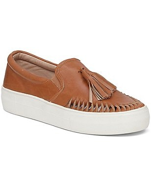 Vince Camuto Kayleena Leather Tassel Detail Slip On Platform Sneakers