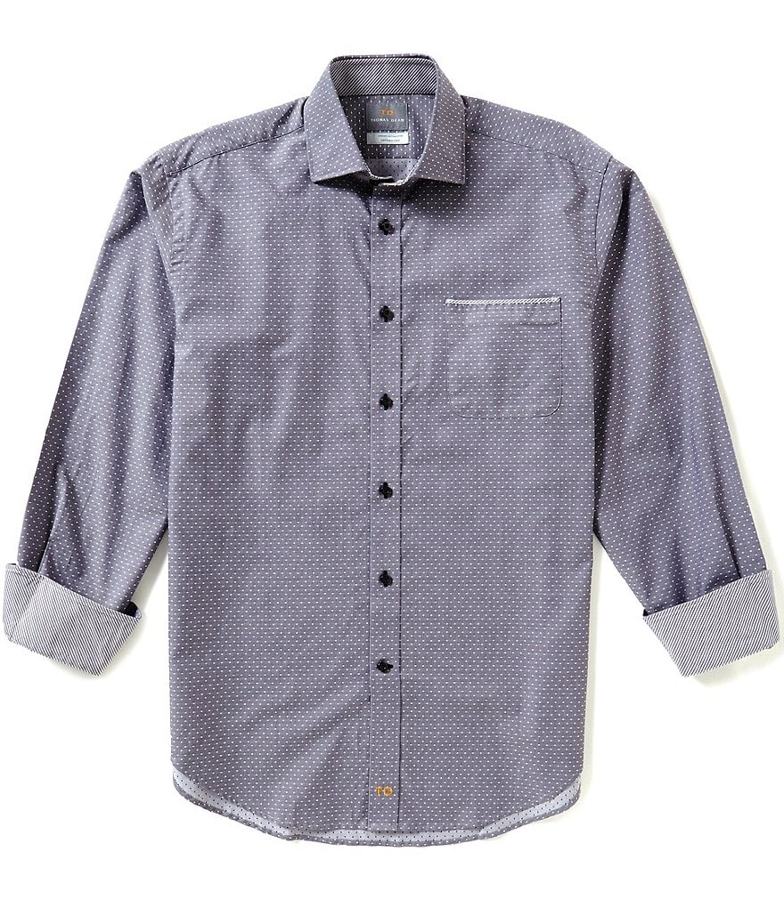 Thomas Dean Mini-Square Long-Sleeve Woven Shirt